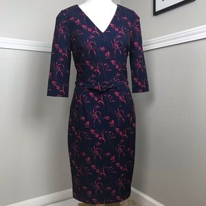 David Meister Navy Floral Sheath Dress Size 6